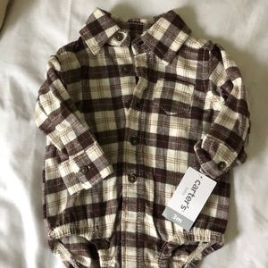 Baby Boys Plaid flannel button up onesie